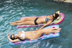 Reizvolle weibliche Freunde im Pool auf einer Hin- und Herbewegung lizenzfreie stockbilder
