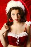 Reizvolle Weihnachtsfrau stockbilder