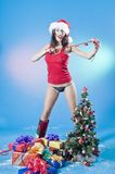 Reizvolle Weihnachtsfrau Stockbild