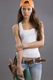 Reizvoller Bauarbeiter der jungen Frau Stockbilder