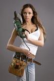 Reizvoller Bauarbeiter der jungen Frau Stockfoto
