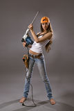 Reizvoller Bauarbeiter der jungen Frau Lizenzfreie Stockbilder