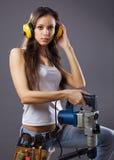 Reizvoller Bauarbeiter der jungen Frau Lizenzfreie Stockfotos
