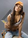 Reizvoller Bauarbeiter der jungen Frau Lizenzfreie Stockfotografie