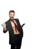 Reizvoller blinzelnder Geschäftsmann im roten Gleichheitholdinggeld Lizenzfreies Stockfoto