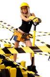 Reizvoller blonder weiblicher Bauarbeiter Lizenzfreie Stockfotografie