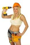 Reizvoller blonder weiblicher Bauarbeiter Stockbild