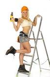 Reizvoller blonder weiblicher Bauarbeiter Stockfotos