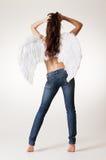 Reizvoller Engel in den Jeans stockfotos