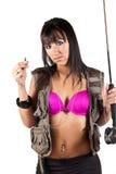 Reizvoller Fliegen-Fisherwoman Lizenzfreies Stockbild