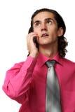 Reizvoller Geschäftsmann am Telefon Stockbild