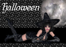 Reizvoller Hexe-Halloween-Hintergrund Stockfotografie