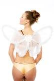 Reizvoller junger Erwachsener mit einer Basisrecheneinheit wings die Aufstellung wie Stockfotos