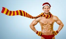 Reizvoller Mann Weihnachtsmann Stockfotografie