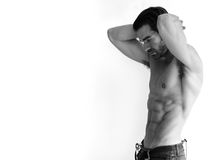 Reizvoller mit nacktem Oberkörper Mann stockbilder