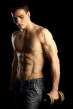 Reizvoller muskulöser Mann mit Dumbell stockfotos