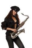 Reizvoller Sicherheitsbeamte mit Saxophon Lizenzfreie Stockfotos