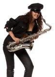 Reizvoller Sicherheitsbeamte mit Saxophon Stockbilder