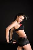 Reizvoller Tänzer auf schwarzem Hintergrund Stockbild