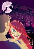 Reizvoller Vampir, der einen Mann embrassing ist lizenzfreie stockbilder