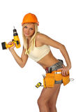 Reizvoller weiblicher Bauarbeiter Stockbilder