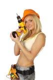 Reizvoller weiblicher Bauarbeiter Stockfotos