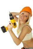Reizvoller weiblicher Bauarbeiter Stockfotografie