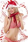 Reizvoller Weihnachtsmann und Zuckerstangen Lizenzfreies Stockbild