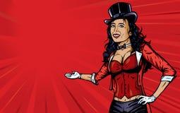 Reizvoller Zirkusansager mit Hintergrund Stockfoto