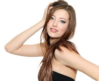 Reizvolles Art und Weisebaumuster mit dem langen Haar Stockbild