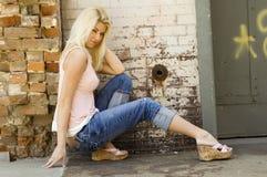 Reizvolles blondes Baumuster Stockbilder