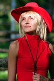 Reizvolles blondes Cowgirl Lizenzfreie Stockfotos