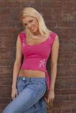 Reizvolles blondes Frauenbaumuster Stockfoto