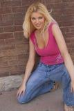 Reizvolles blondes Frauenbaumuster Lizenzfreies Stockbild