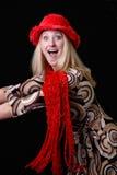 Reizvolles blondes im Weihnachtshut und -schal Stockbilder