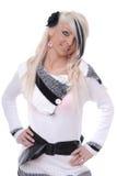 Reizvolles blondes Mädchen in der beiläufigen Wolleoberseite Lizenzfreies Stockfoto