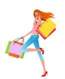 Reizvolles Einkaufenmädchen Lizenzfreies Stockfoto