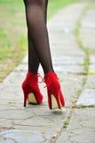 Reizvolles Fahrwerkbein mit roten hohen verfolgten Schuhen Stockfotografie
