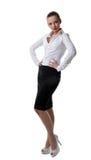 Reizvolles Geschäftsfrau-Standplatzportrait getrennt lizenzfreies stockfoto