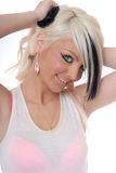 Reizvolles junges blondes Mädchenportrait Stockfotografie