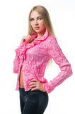 Reizvolles Mädchen in der rosafarbenen Bluse Stockfotos