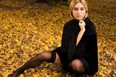 Reizvolles Mädchen im Herbstwald lizenzfreies stockbild