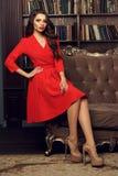 Reizvolles Mädchen im Kleid lizenzfreies stockfoto