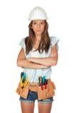 Reizvolles Mädchen mit Aufbauhilfsmitteln Stockfotos