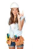 Reizvolles Mädchen mit Aufbauhilfsmitteln Lizenzfreies Stockfoto