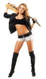 Reizvolles Mädchen mit elektrischer Gitarre Stockfotografie