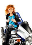 Reizvolles Mädchen mit Motorrad Stockbild