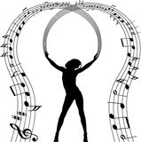 Reizvolles Mädchenschattenbild mit Musikanmerkungen Stockbilder