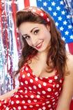 Reizvolles patriotisches amerikanisches Mädchen Lizenzfreies Stockfoto