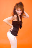 Reizvolles Redhead-Profil Stockfoto